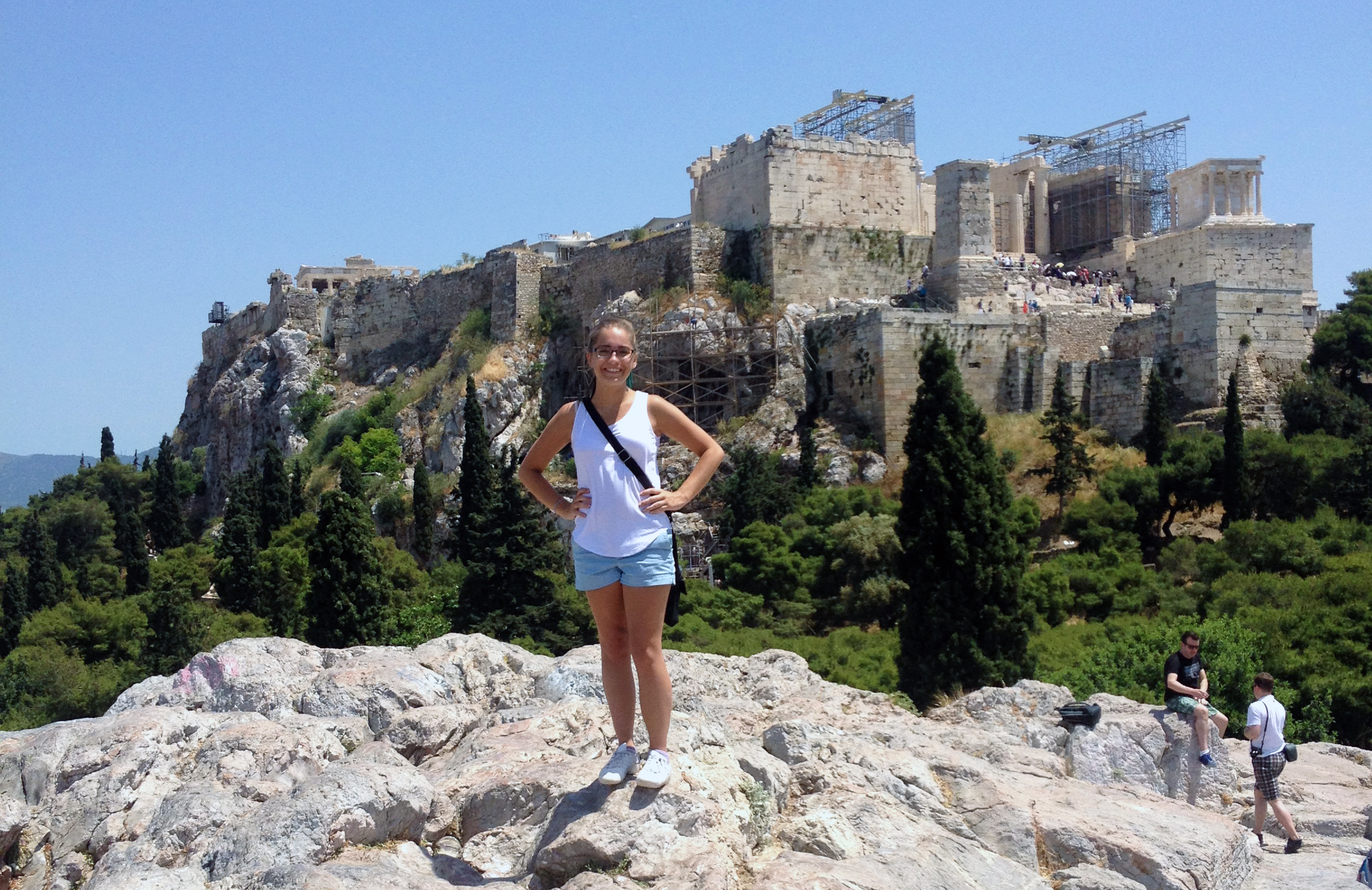 Esther in front of Greek architecture