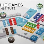 Illustration of Institute's building that looks like a game board.