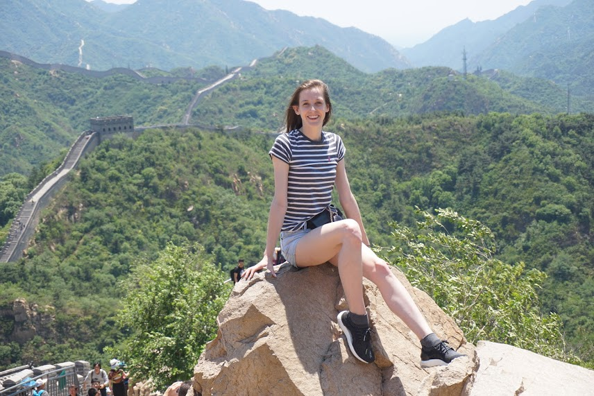 Jessica visiting the Great Wall of China