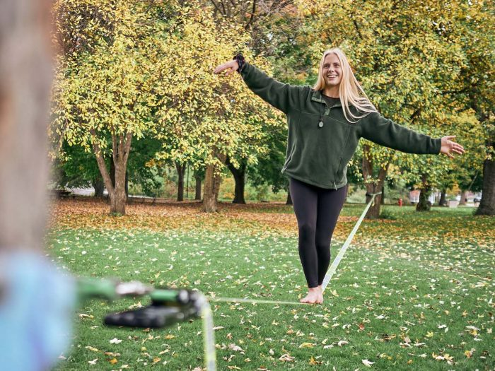 Hannah slack-lining on campus